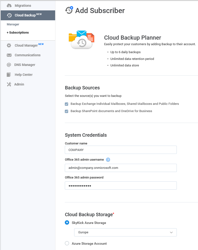 SkyKick Cloud Backup - Cloud Backup Planner